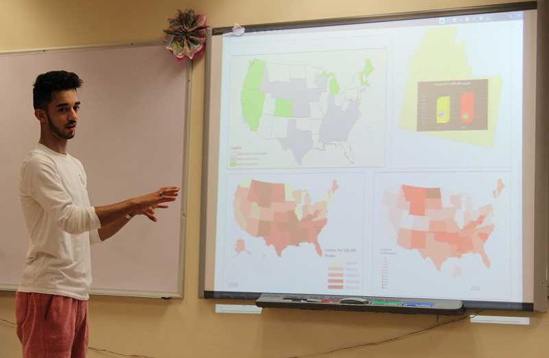 PMG PHOTO: JANAE EASLON - Forest Grove High School student Indigo Curtis, 17, studied possible correlations between marijuana legalization and traffic accidents for his geospatial technology project in 'Mapping My World.'