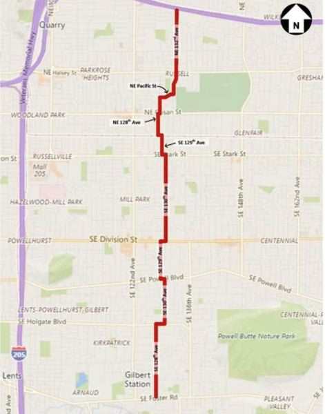 VIA PBOT  - The route of the new 130s bikeway is shown here.