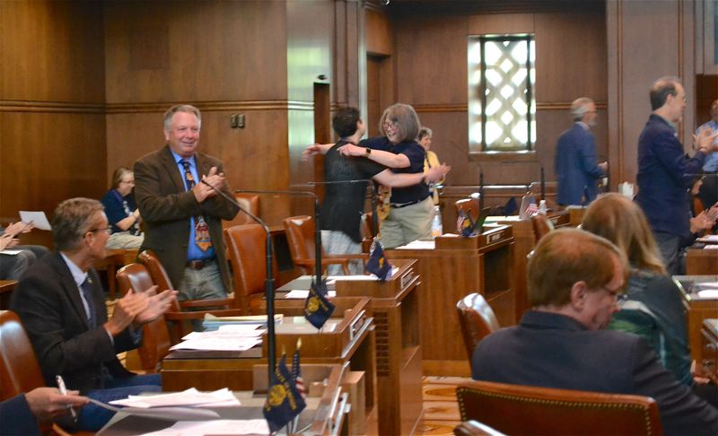 OREGON CAPITAL BUREAU: CLAIRE WITHYCOMBE - Senate Republican Leader Herman Baertschiger Jr., R-Grants Pass, celebrates Senate President Peter Courtney's 76th birthday on the Senate floor Tuesday. Minutes later, his office sent out a press release announcing the consideration of a walkout.