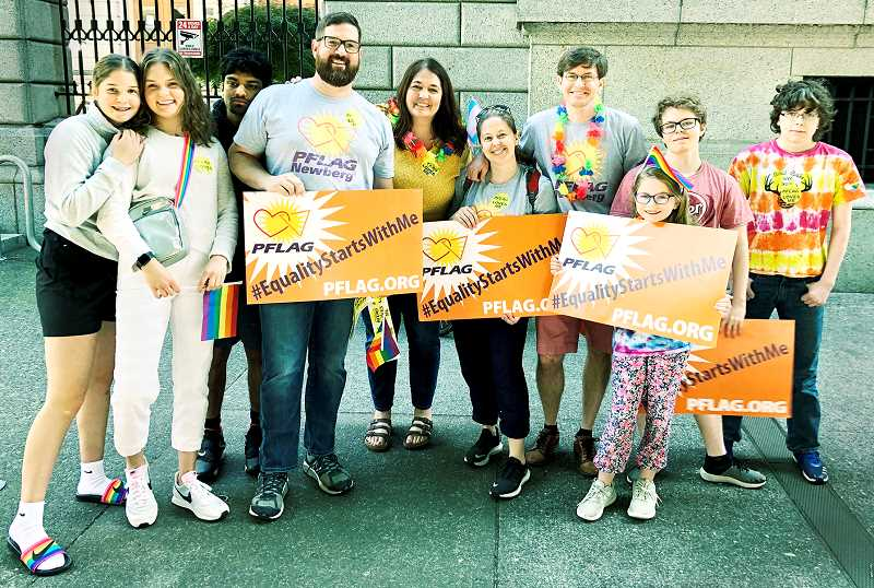 SUBMITTED PHOTO - The Newberg chapter of PFLAG marched in the Portland Pride Parade last weekend and are getting involved at a local level as well, providing a $500 scholarship to a graduating senior from Newberg High School.