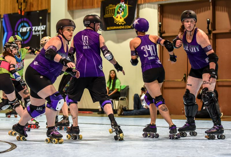COURTESY PHOTO: CHRISTINA CAPOBIANCO - The Rose City Rollers all-star team, Wheels of Justice, is seeking its fourth world championship. From left are Elicia Nisbet-Smith, OMG WTF, Bonnie Thunders and Juniper Simonis.