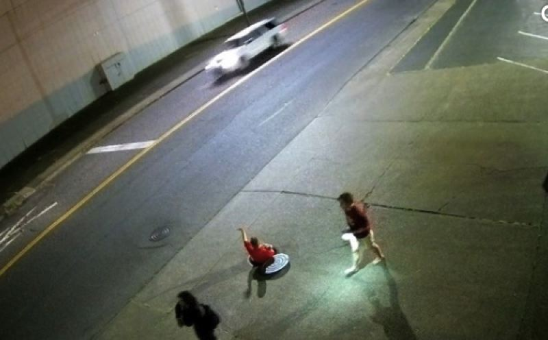 KOIN 6 NEWS - A screen shot from surveillance video provided by Chown Hardware in Portland of people climbing out of a sewer twice.