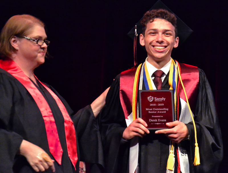 PMG PHOTO: BRITTANY ALLEN - Derek Evans was named the 2019 Outstanding Senior at the June 12 Sandy High commencement.