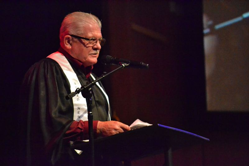 PMG PHOTO: BRITTANY ALLEN - Oregon Trail School District board Chairman DJ Anderson addresses the Class of 2019 at the June 14 graduation ceremony in Tualatin.