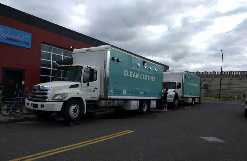 PMG PHOTO: JIM REDDEN - The two modified Oregon Harbor of Hope trucks on display in Southeast Portland.