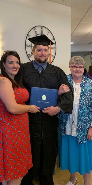 COURTESY PHOTO  - Celeste Isaacson-Hybertsen, left, Schon and his mother-in-law Lina Isaacson at Shon's graduation.