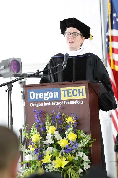 COURTESY PHOTO  - Maria Pope gives her commencement speech at Oregon Tech's graduation June 16.