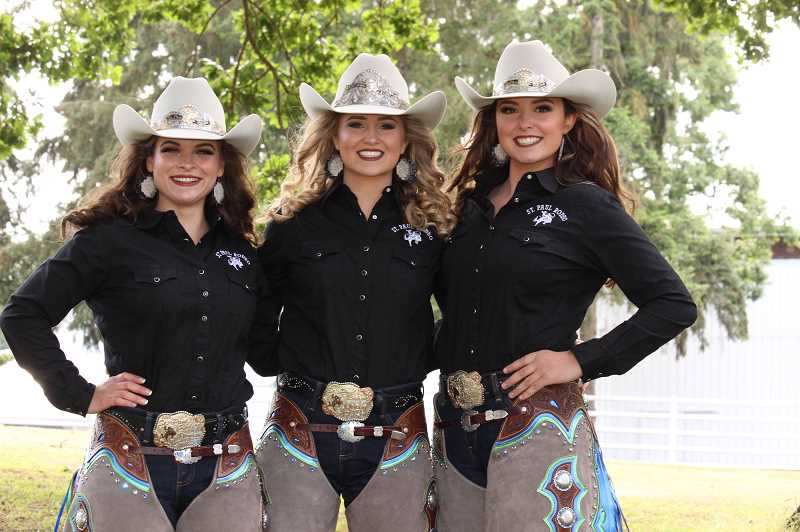 COURTESY PHOTO: SARA LEONARD   - The St. Paul Rodeo Royal Court includes from left Princess Caitlin Holmlund, Queen Dessa Coleman and Princess Hannah Austin. The women have represented the rodeo throughout the year and will continue during the rodeo running July 2-6 in St. Paul.