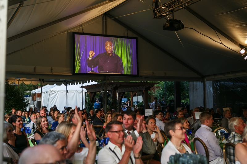 COURTESY PHOTO - LeVar Burton speaking at the annual Park Academy gala and auction.