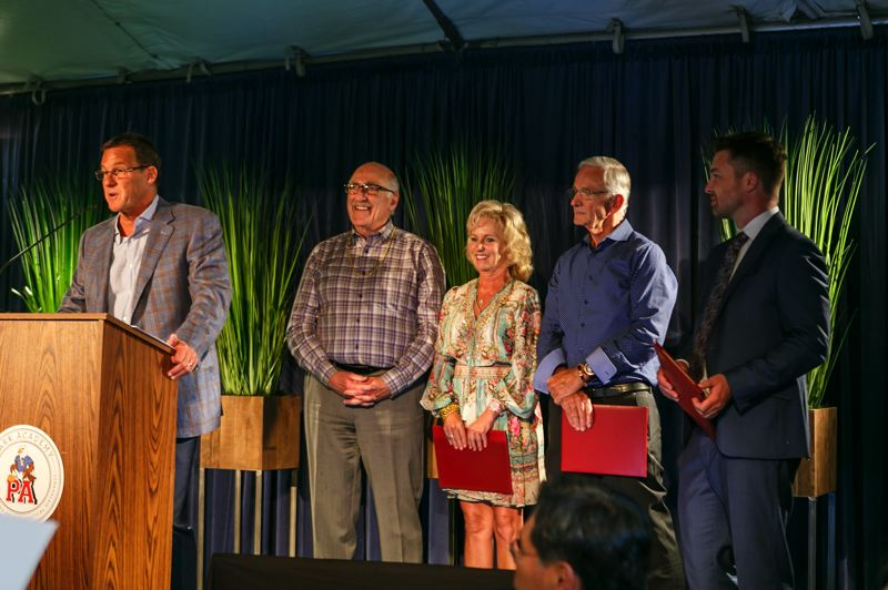 COURTESY PHOTO - Jeff Mengis (left), member of the Park Academy board of directors, presents honorees with their namesake scholarships. Honorees: Gary Maffei, Piper Park, Bill Westphal. Far right: head of school Craig Lowery.