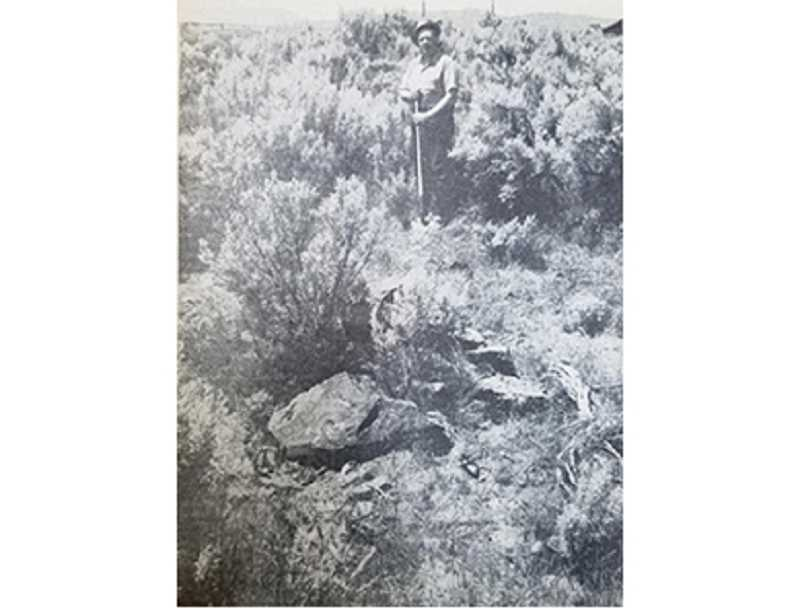 FILE PHOTO - In 1969, Delmar Hinshaw, of Portland, came to Jefferson County to search for the grave of four people from a wagon train that were buried in 1845, near Rimrock Springs. His great-grandfather was a member of the Solomon Tetherow wagon train from Weston, Missouri, that passed through the area.