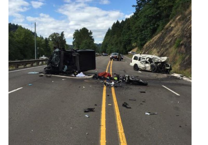 COURTESY PHOTO: OSP - Two cars were wrecked and two drivers were seriously injured in a head-on crash on Highway 99E near milepost 16.