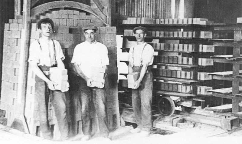 PHOTO COURTESY OF BOWMAN MUSEUM  - Brick makers pose for a photo during the workday. Brick yards were in high demand in Prineville during the early 1900s.