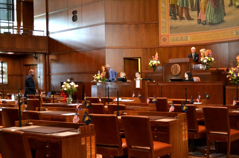 CLAIRE WITHYCOMBE/OREGON CAPITAL BUREAU - Empty seats in the state Senate Thursday, June 20, marked the second time in a month that Senate Republicans played hooky to block votes on a controversial bill.