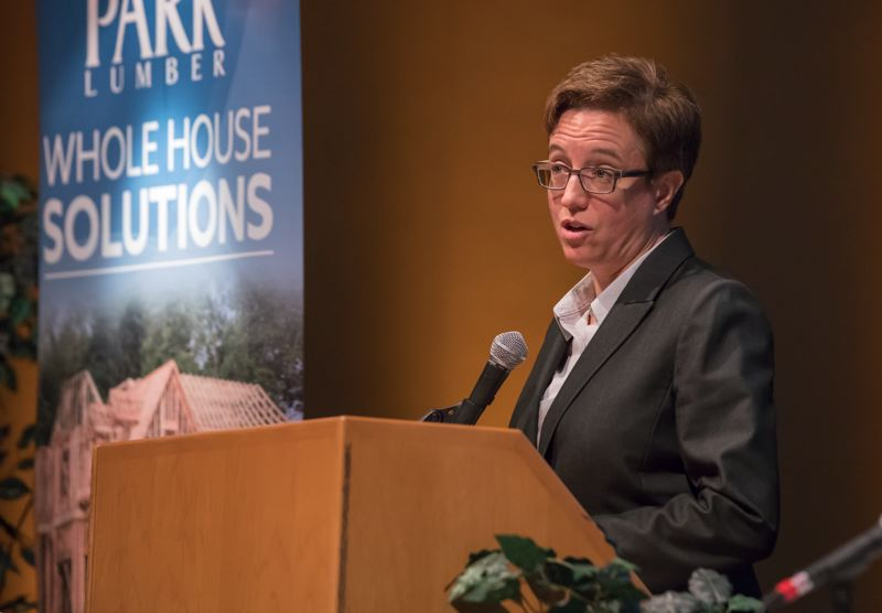 PMG FILE PHOTO - Oregon House Speaker Tina Kotek speaks at the 2018 HBA Housing Forecast meeting.