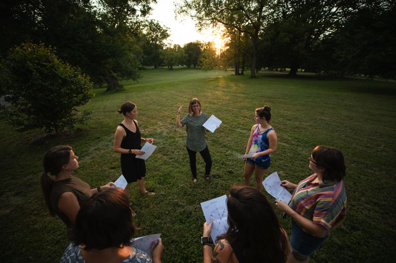 COURTESY: DUSTIN ALTON STRUPP/THE COURIER JOURNAL - Organizational psychologist Cara Meyer leading an activity for a Womens Empowering Leadership Workshop in Cherokee Park, Louisville, Kentucky. Meyer moved her consultancy back to Portland to work with more non profits and B Corps.