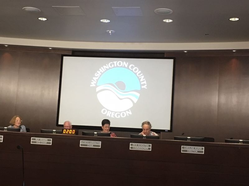 PMG PHOTO BY PETER WONG - Washington County commissioners, acting as the governing board of Clean Water Services, on Tuesday, June 18, when they approved higher sewer and storm water rates in the county's urban areas for the year starting July 1.