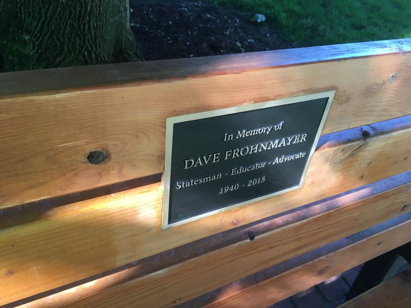 PMG PHOTO BY PETER WONG - The plaque on a bench honoring Dave Frohnmayer, former state legislator, attorney general and president of the University of Oregon, who died of prostate cancer in 2015. The dedication took place June 13 on the Capitol grounds in Salem.
