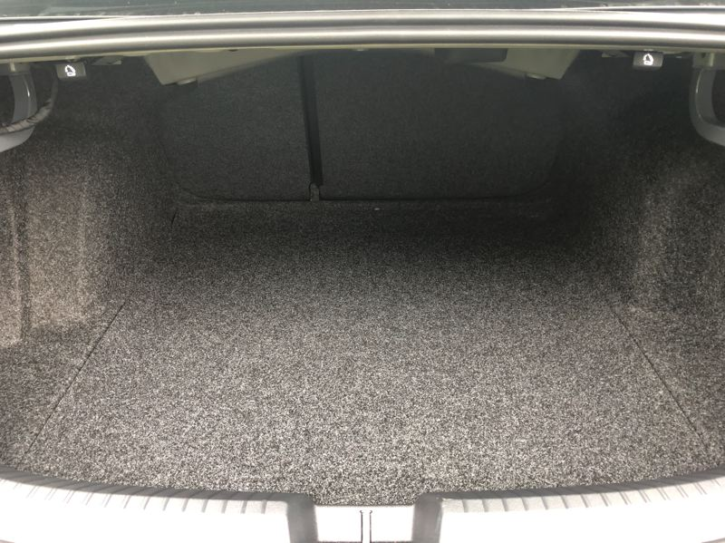 PMG PHOTO: JEFF ZURSCHMEIDE - The trunk in the 2019 VW Jetta GLI is large for a compact sedan, and more cargo space is available with the rear seats folded down.