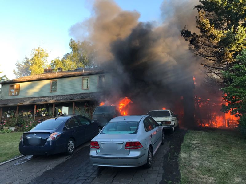 COURTESY TVFR - Tualatin Valley Fire & Rescue responded to a serious blaze inside a Beaverton residential garage on June 18.