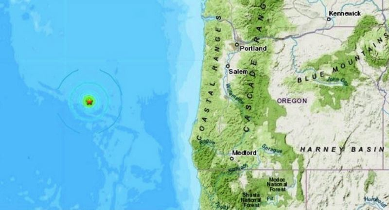 USGS VIA KOIN - The epicenter of the Saturday, June 22, quakes is marked with a star.