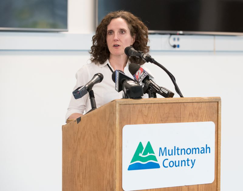 COURTESY MULTCO - Dr. Jennifer Vines, the deputy health officer for Multnomah County, speaks during a news conference regarding HIV infections on Thursday, June 20.