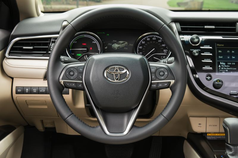 COURTESY TOYOTA MOTOR SALES - Drivers get plenty of information and can easily control all of the systems in the 2019 Toyota Camry Hybrid in its well-designed interior.