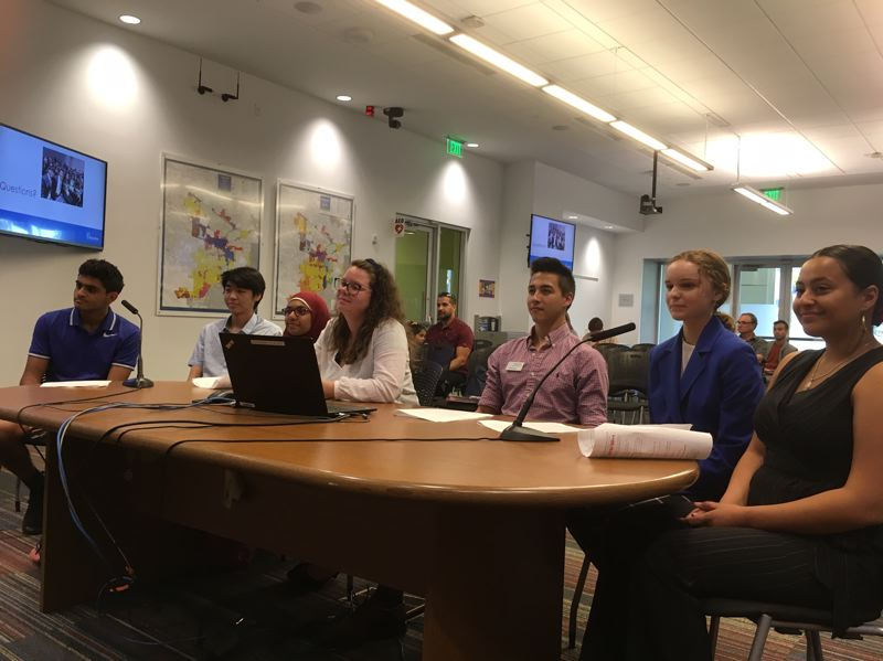 PMG PHOTO BY PETER WONG - Members of the Mayor's Youth Advisory Board speak at a June 18 meeting of the Beaverton City Council. They are, from left, Rohan Wagh, Marcel Kida, Nuzhat Maisha Hoque, city staff liaison Emily Van Vleet, Ethan Myers, Sophia Slack and Gabriela Moreno.