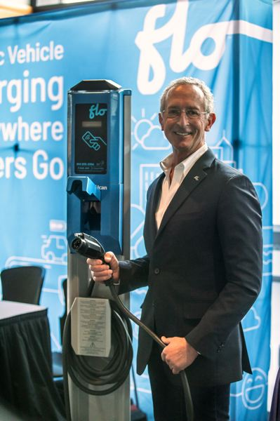 PMG PHOTO: JONATHAN HOUSE - Scott Saffian, general manager Western USA of FLO, an EV charging company, at the Forth electric mobility Roadmap 12 Conference at the Oregon Convention Center. Chargers could be the new payphones.