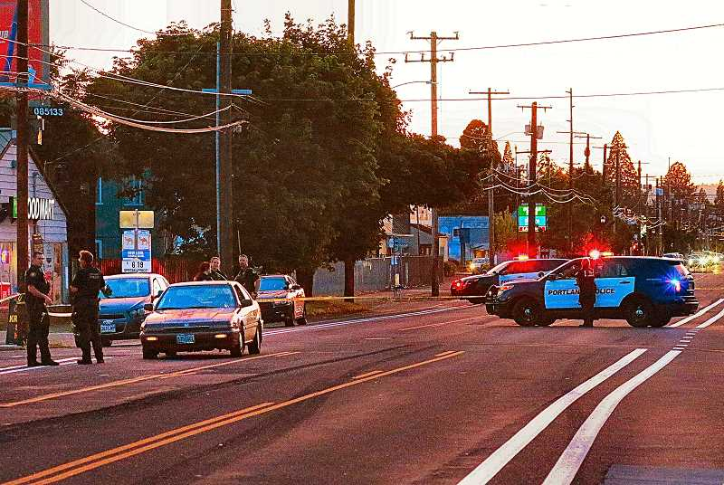 DAVID F. ASHTON - After a pedestrian was fatally struck at sunset on S.E. Foster Road, in the Foster-Powell neighborhood, police closed down the street to begin their investigation.