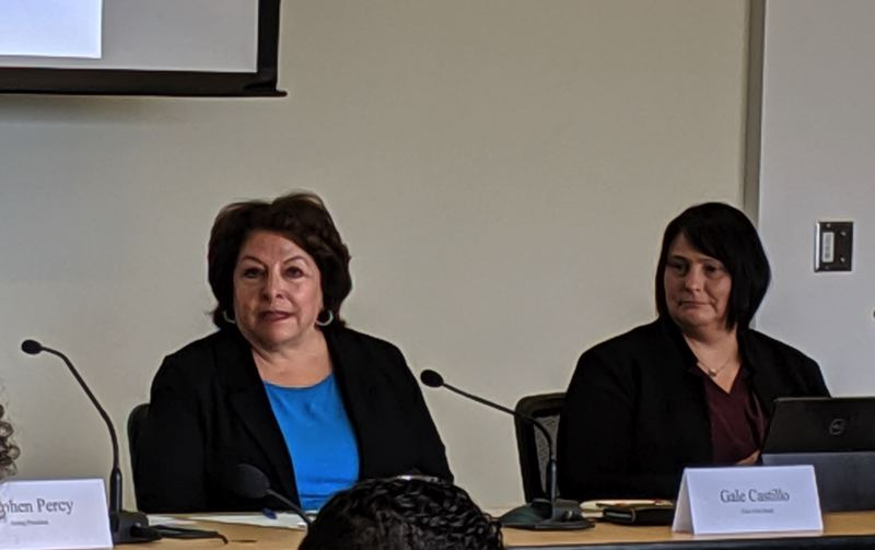 PMG PHOTO: COURTNEY VAUGHN - PSU Board Chair Gale Castillo (left) talks about interim President Stephen Percy during a board meeting at the university Thursday, June 20.