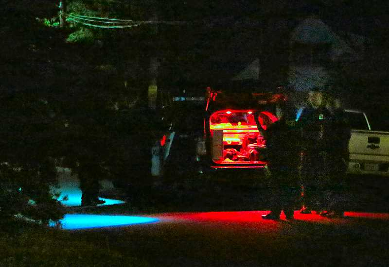 DAVID F. ASHTON - Using flashlights to look for evidence, officers investigate a late-night Reed neighborhood domestic violence incident, involving a stabbing, on June 9.