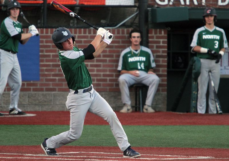 PMG PHOTO: MILES VANCE - Lake Oswego's Matt Sebolsky takes a swing during his North team's 13-10 loss to the South in the Oregon All-Star Series at Corvallis' Goss Stadium on Saturday, June 22.