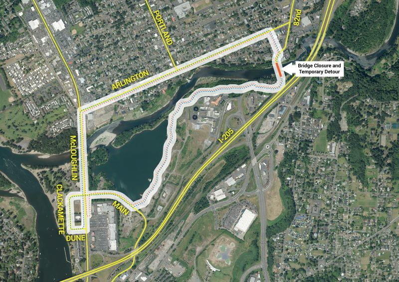 MAP COURTESY: CLACKAMAS COUNTY - County officials have released a map with one recommended detour for people trying to walk or bike between Gladstone and Oregon City during the 82nd Drive bridge closure. A new proposed bridge would connect Gladstone's Portland Avenue with Oregon City's Clackamas River Trail to the south.
