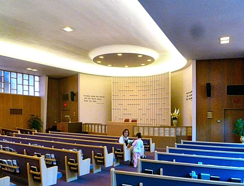 EILEEN G. FITZSIMONS - This interior photo of the elliptical nave of Tenth Church of Christ, Scientist, in Westmoreland, shows the clerestory windows on south side.