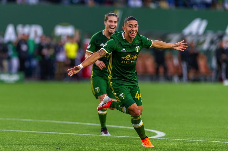 COURTESY PHOTO: DIEGO G. DIAZ - Marvin Loria celebrates after scoring his first MLS goal and the opening goal in the Portland Timbers' 4-0 victory on Saturday against the Houston Dynamo.
