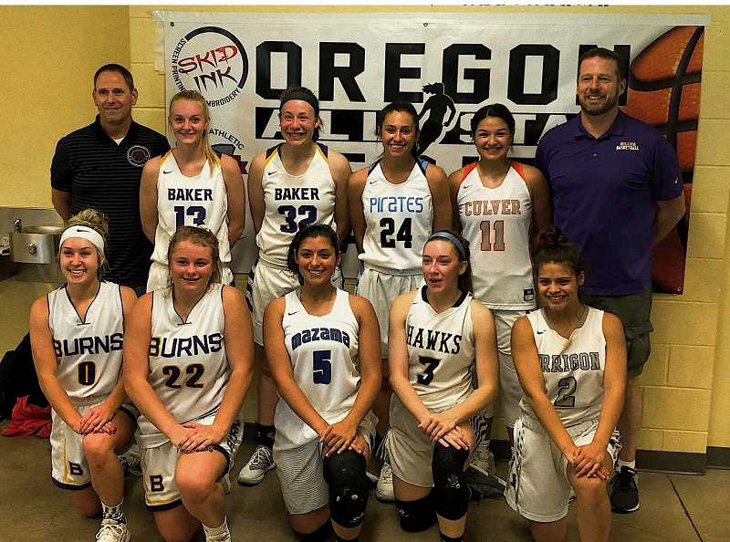 SUBMITTED PHOTO - The all-star games were compiled from 2A-4A players on East, West, North and South teams. Retano played on the East team with two players from Baker City, with Baker City coach Brandon Begley at the helm.