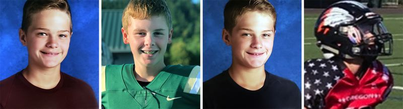 COURTESY PHOTOS - Ready for action in Saturday's Oregon All State Games are West Linn's (left to right) Gus Donnerberg, Jack Benninger, Wiley Donnerberg and Brady Manselle.
