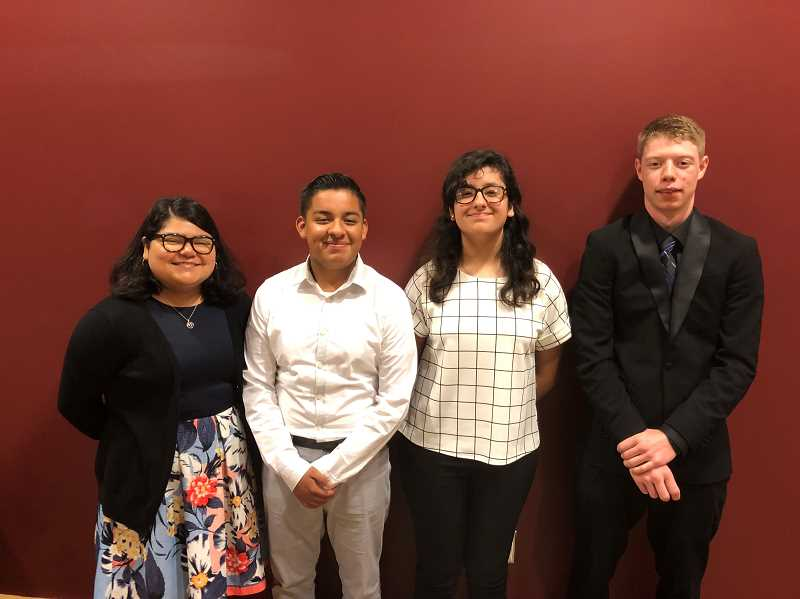 COURTESY OF NORTH MARION SCHOOL DISTRICT - Left to right, Alondra Ruiz, Kevin Rojas, Monica Villarreal and James Patterson: North Marion students earned a trip to San Antonio for a Future Business Leaders of America National Leadership Conference.