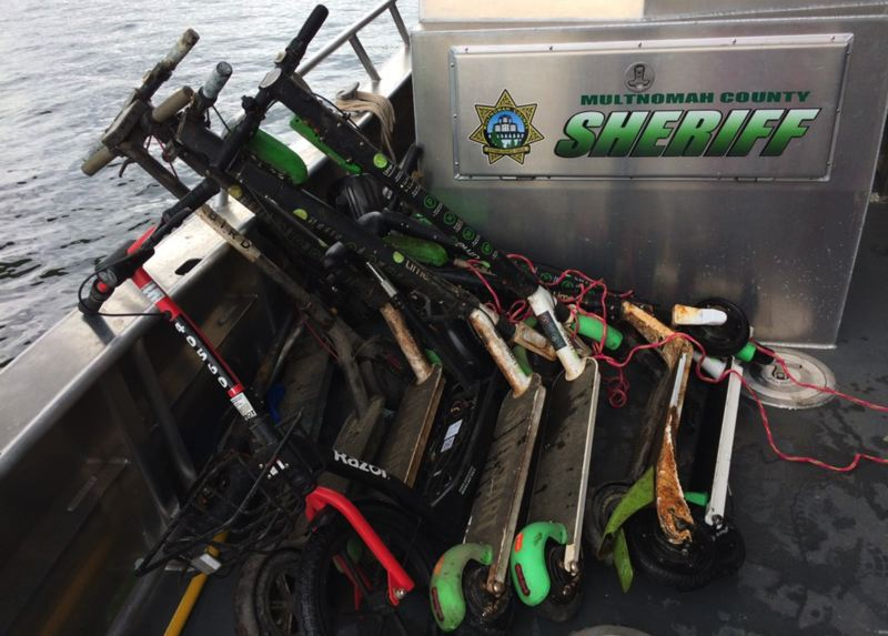 MCSO PHOTO - The Multnomah County Sheriff's Office recovered a handful of scooters from the Willamette River on Tuesday, June 25.
