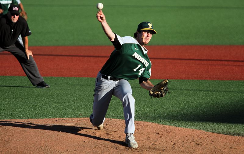 PMG PHOTO: MILES VANCE - West Linn's Jonathan Kelly delivers during the first inning of his North team's 13-10 loss to the South in the Oregon All-Star Series at Corvallis' Goss Stadium on Saturday, June 22.