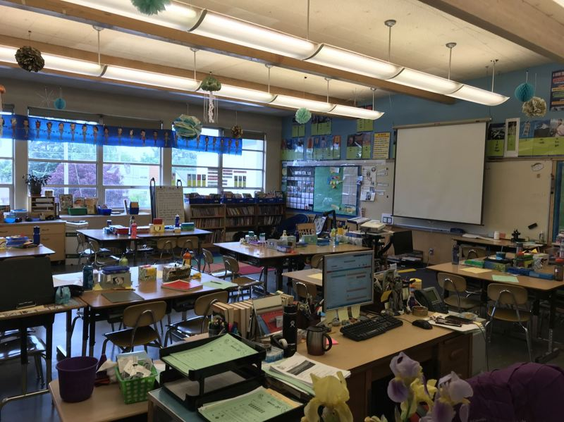 PHOTO COURTESY OSHA - Students are cleared from room 27 at Chief Joseph Elementary School in Portland while carbon dioxide testing takes place.