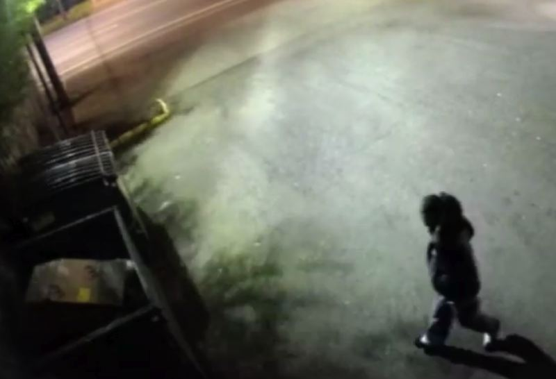 VIDEO SCREENSHOT  - The suspect in a dumpster fire approaches the trash container in North Portland.