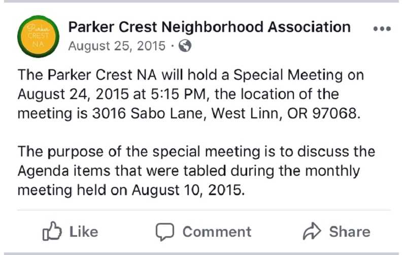 COURTESY IMAGE  - Parker Crest NA notified its 2015 meeting on its Facebook page a day after the meeting took place.