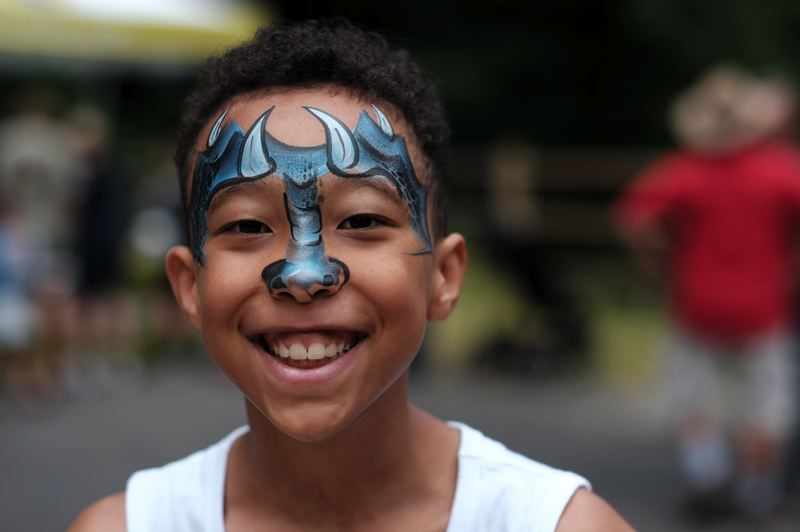 Christopher Coppage sports some face paint at the Hidden Falls Nature Park celebration on June 22.