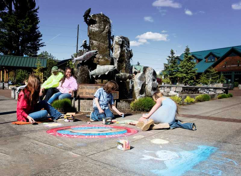 The City of Sandy is hosting a chalk art event called Only Rain Down the Drain July 7. Artists are invited to use chalk to create art focused on that theme.