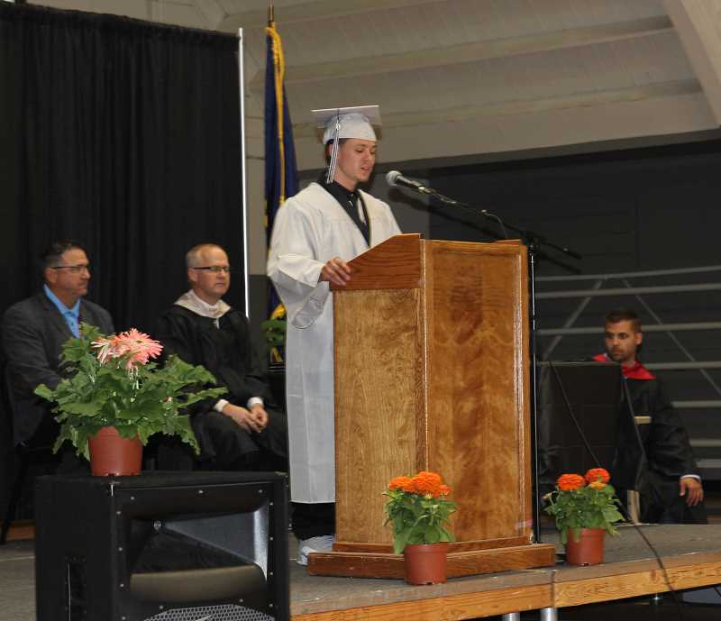 PMG PHOTO: JUSTIN MUCH - Valedictorian Alex V. addresses his fellow graduates. A total of 25 grads took part in the William P. Lord High School commencement at MacLaren Youth Correctional Facility: 9 with GED certificates, 12 high school graduates; two attaining Associates degrees; one earning a bachelors degree from Portland State University.