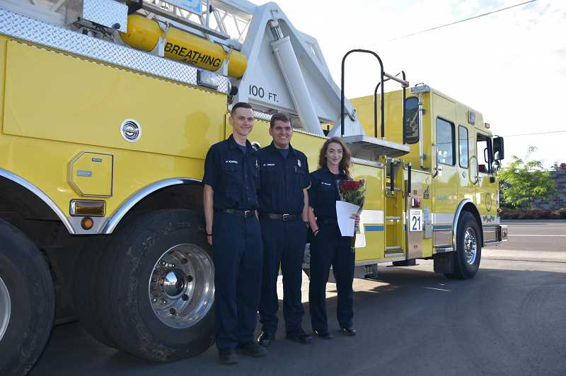 COURTESY OF WOODBURN FIRE DISTRICT - Woodburn Fire District student resident volunteers, left to right, Zach Richardson, Troy Jordan and Ginger Becker.