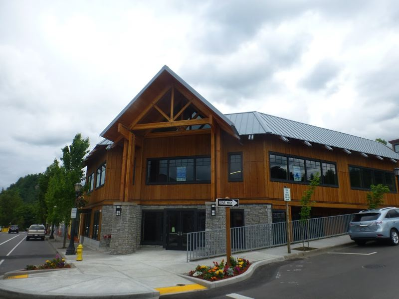 PMG PHOTO: SHANNON O. WELLS - This new building cuts a striking figure over downtown Troutdale at Southeast Dora Avenue and Historic Columbia River Highway.