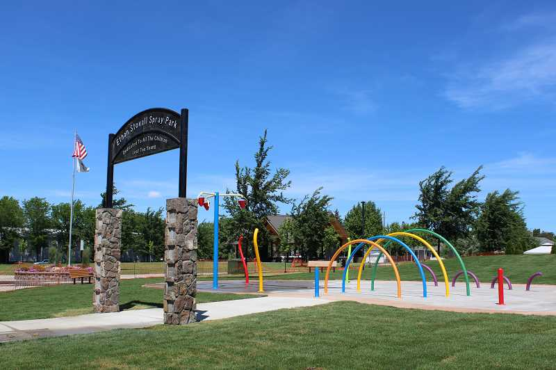 HOLLY M. GILL/MADRAS PIONEER - The Ethan Stovall Spray Park will open at 9 a.m. Saturday, June 29, at Sahalee Park, in Madras, after a ribbon-cutting ceremony.